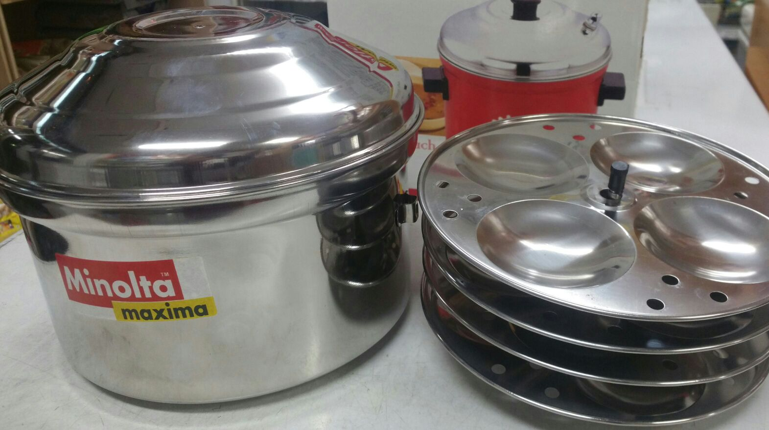 SS Idli Cooker 4 Plates (Full Cooking Set)