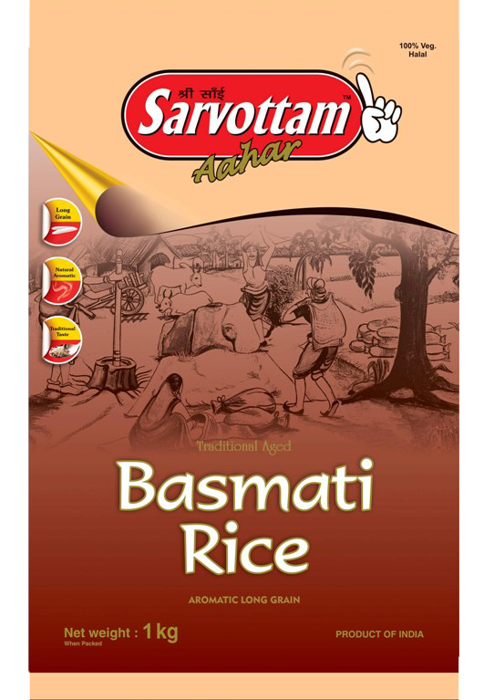 Sarvottam Pure Indian Basmati Rice 1 kg - Click Image to Close